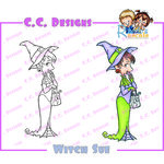 CC Designs - Robertos Rascals Collection - Halloween - Cling Mounted Rubber Stamps - Witch Sue