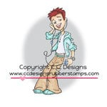 CC Designs - Robertos Rascals Collection - Cling Mounted Rubber Stamps - Ipod Chris