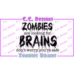 CC Designs - Sassy Sayings Collection - Halloween - Cling Mounted Rubber Stamps - Zombie Brains