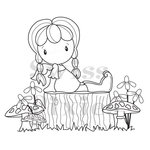 CC Designs - Swiss Pixie Collection - Cling Mounted Rubber Stamps - Birgitta on a Tree Stump
