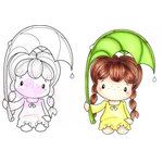 CC Designs - Swiss Pixie Collection - Cling Mounted Rubber Stamps - Rainy Day Birgitta
