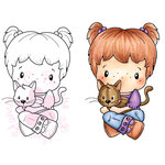 CC Designs - Swiss Pixie Collection - Cling Mounted Rubber Stamps - Heidi with Kitty