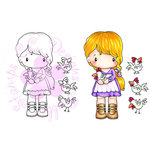 CC Designs - Swiss Pixie Collection - Cling Mounted Rubber Stamps - Lucy with Chickens
