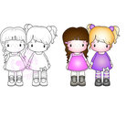 CC Designs - Swiss Pixie Collection - Cling Mounted Rubber Stamps - Sisters
