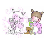CC Designs - Swiss Pixie Collection - Cling Mounted Rubber Stamps - Baby Girl