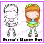 CC Designs - Swiss Pixie Collection - Cling Mounted Rubber Stamps - Olivias Happy Day