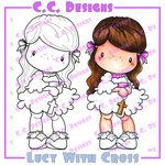 CC Designs - Swiss Pixie Collection - Cling Mounted Rubber Stamps - Lucy With Cross