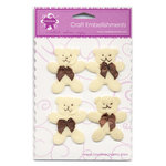 Creative Charms - Eye Candy Collection - Sweet Baby - Felt Embellishments - Teddy Bears - Beige, CLEARANCE