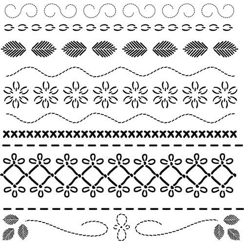 The Crafter's Workshop - 12 x 12 Doodling Templates - Deco Stitches