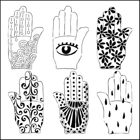 The Crafter's Workshop - 12 x 12 Doodling Templates - Henna Hands