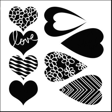 The Crafter's Workshop - 12 x 12 Doodling Templates - Mix and Match Hearts