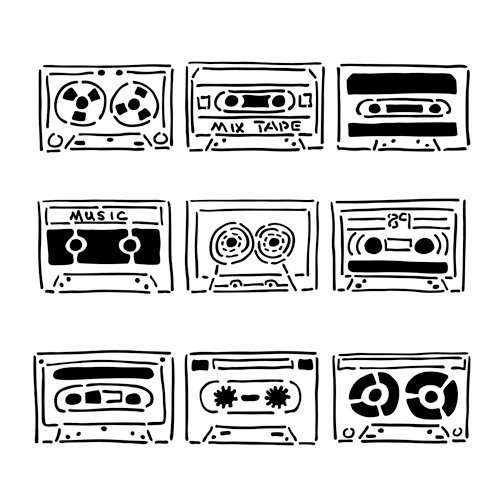 The Crafter's Workshop - 12 x 12 Doodling Template - Mix Tape