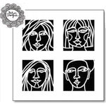 The Crafter's Workshop - 6 x 6 Doodling Template - Four Faces