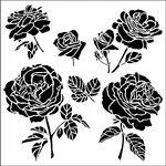 The Crafter's Workshop - 12 x 12 Doodling Templates - Cabbage Roses