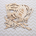 Cosmo Cricket - Wood Charms - Feathers