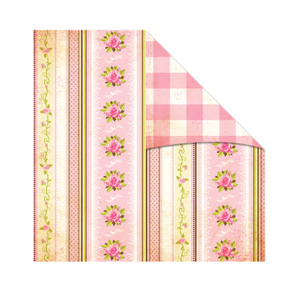 The Girls Paperie - Vintage Whimsy Collection - 12 x 12 Double Sided Paper - English Garden Stripe, CLEARANCE