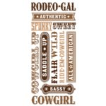 Creative Imaginations - Marah Johnson - Jumbo Sticker Sheet - Cowgirl Phrase