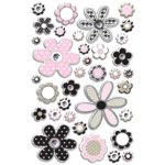 Creative Imaginations - Art Warehouse by Danelle Johnson - Flower Rhinestone - Pearl Epoxy Stickers, BRAND NEW