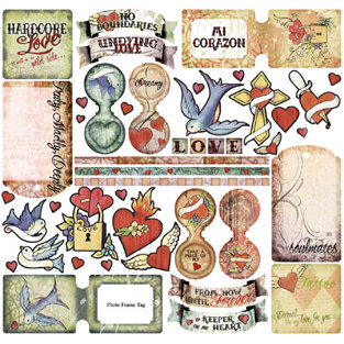 Creative Imaginations - Love Struck by Marah Johnson - Tattoo Collection - Epoxy Stickers