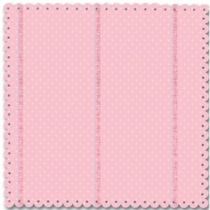 Creative Imaginations - Narratives by Karen Russell - Scalloped Die Cut Paper - Sweet Pea Girl Collection - Pink Polka Dot, CLEARANCE