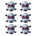 Creative Imaginations - Skull and Crossbones Collection - Metal Brads - Skull Brads