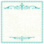 Creative Imaginations - Narratives - Honeydew Collection by Karen Russell - Scalloped Paper - Teal Scroll, CLEARANCE