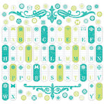 Creative Imaginations - Narratives - Honeydew Collection by Karen Russell - 12x12 Cardstock Stickers - Honeydew Tab Alphabet