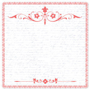 Creative Imaginations - Narratives - Wildberry Collection by Karen Russell - Scalloped Paper - Coral Scroll