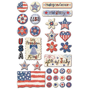 Creative Imaginations - All American Collection by Samantha Walker - Epoxy Stickers - American