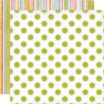 Creative Imaginations - Creative Cafe Collection - 12 x 12 Double Sided Paper - Lime Dot, CLEARANCE