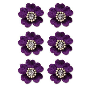 Creative Imaginations - Eclecti-Ka Embellishments by Marah Johnson - Velvet Floral Brads - Purple