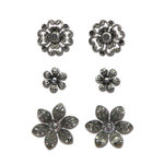 Creative Imaginations - Eclecti-Ka Embellishments by Marah Johnson - Metal Brads - Silver Floral