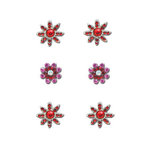 Creative Imaginations - Eclecti-Ka Embellishments by Marah Johnson - Rhinestone Floral Brads - Red Rhinestone