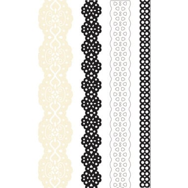 Creative Imaginations - Narratives - Antique Cream Collection by Karen Russell - Self-Adhesive Paper Lace - 4 Ribbons - Antique Cream