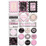 Creative Imaginations - Narratives - French Sweet Pea Collection by Karen Russell - Epoxy Stickers - French Sweet Pea
