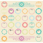 Creative Imaginations - Narratives - Bloom Collection - 12x12 Cardstock Stickers - Bloom Labels, CLEARANCE