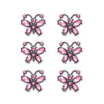Creative Imaginations - Metal Cast Rhinestone Brads - Pink Butterfly