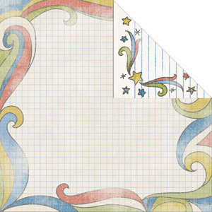 Creative Imaginations - Study Hall Collection by Danelle Johnson - 12 x 12 Double Sided Paper - Doodle Graph, CLEARANCE