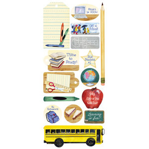 Creative Imaginations - It's Elementary Collection by Barb Tourtillotte - Jumbo Stickers - School
