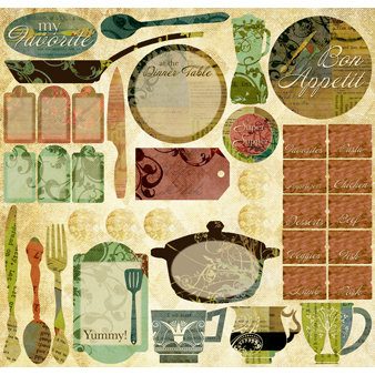 Creative Imaginations - Everyday Gourmet Collection by Christine Adolph - 12 x 12 Cardstock Stickers - Everyday Gourmet