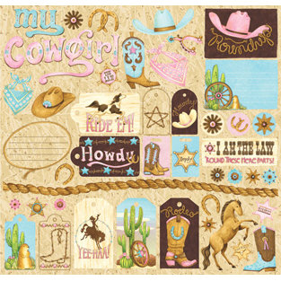 Creative Imaginations - Cowgirl Collection by Debbie Mumm - 12 x 12 Cardstock Stickers - Cowgirl