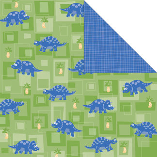 Creative Imaginations - Studio Basics 101 Collection - 12 x 12 Double Sided Paper - Stegosaurus, CLEARANCE