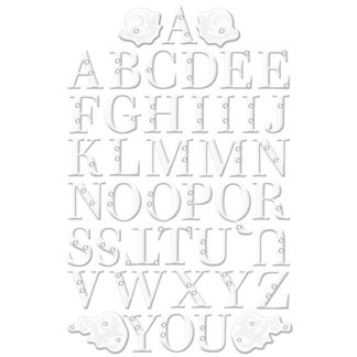 Creative Imaginations - Art Warehouse by Danelle Johnson - Radiance Collection II - Glitter and Rhinestone Epoxy Alphabet Stickers - Fanfare - White