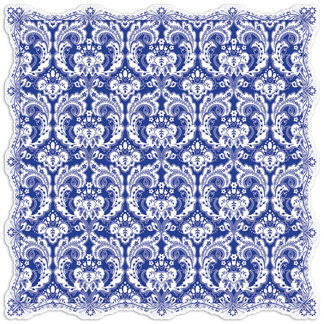 Creative Imaginations - Narratives by Karen Russell - Lilly Lane Collection - 12 x 12 Die Cut Paper - China Blue Damask