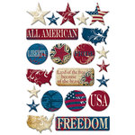 Creative Imaginations - Melange - Liberty Collection - Epoxy Stickers - Liberty