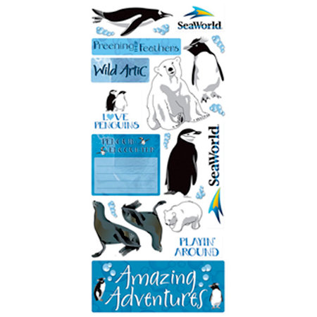 Creative Imaginations - Seaworld - Penguins Collection - Jumbo Cardstock Stickers - Penguin
