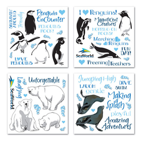 Creative Imaginations - Seaworld - Penguins Collection - Rub Ons Swatch Pack - Penguin