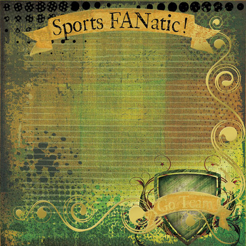 Creative Imaginations - Victory Collection by Marah Johnson - 12 x 12 Gold Foil Paper - Sports Fanatic, CLEARANCE