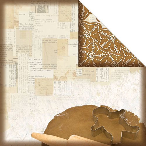 Creative Imaginations - Christmas in the Kitchen Collection by Samantha Walker - 12 x 12 Double Sided Paper - Gingerbread