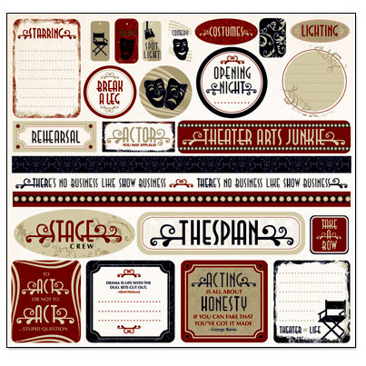 Creative Imaginations - Signature Theater Collection - 12 x 12 Cardstock Stickers - Theater Arts